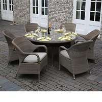 4 Seasons Outdoor Sussex 6 Seater Dining Set With Lazy Susan, Taupe
