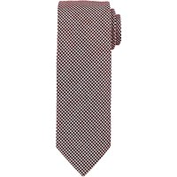 John Lewis Mini Grid Tie, Burgundy/White