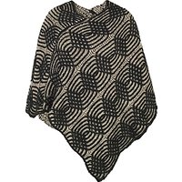 Chesca Cable Knit Poncho, Black/Beige