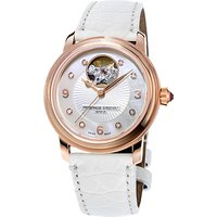 Frdrique Constant FC-310HBAD2P4 Womens Heart Beat Diamond Automatic Alligator Leather Strap Watch, White/Silver