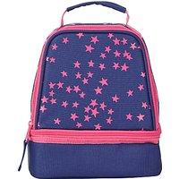 John Lewis Childrens Star Print Lunch Box, Navy/Pink