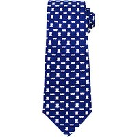 John Lewis Tache and Top Hat Silk Tie, Navy/White