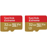 SanDisk Extreme UHS-I U3 microSDHC Memory Card, 32GB, 60MB/s, with SD Adapter, Pack of 2