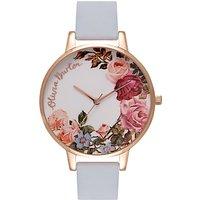 Olivia Burton OB16ER06 Womens English Garden Leather Strap Watch, Chalk Blue/White
