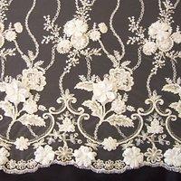 Carrington Fabrics Genevieve Embroidered Lace Fabric, Ivory