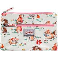Cath Kids Children's Pet Party Double Zip Pencil Case, White/pink