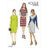 Vogue Womens Knit Panelled Dresses Sewing Pattern, 9240