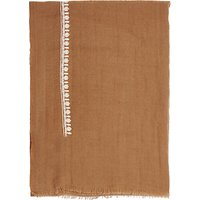 French Connection Dream Embroidered Wool Scarf, Terra Tan/Cream