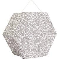 John Lewis Floral Print Hexagonal Occasion Hat Box, Grey, 22