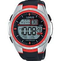 Lorus R2313LX9 Mens Digital Chronograph Silicone Strap Watch, Black/Grey