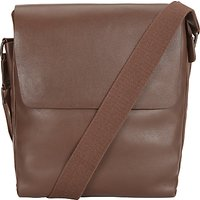 John Lewis Boston Leather Reporter Bag, Chocolate