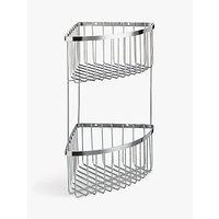 John Lewis Two Tier Stainless Steel Corner Shower Basket, Silver
