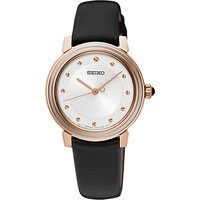 Seiko SRZ484P1 Womens Leather Strap Watch, Black/White