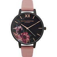 Olivia Burton OB15FS60 Womens After Dark Leather Strap Watch, Dark Rose/Black Floral