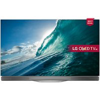 LG OLED55E7N OLED HDR 4K Ultra HD Smart TV, 55 with Freeview Play, Picture-On-Glass Design & Dolby Atmos Sound Bar Stand, Silver