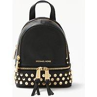 MICHAEL Michael Kors Rhea Leather Studded Extra Small Backpack, Black