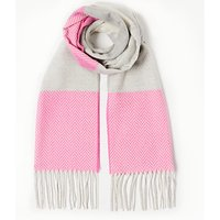 John Lewis Classic Contrast Scarf, Bright Pink/Grey