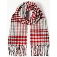 John Lewis Cashmink Classic Check Scarf, Red Mix