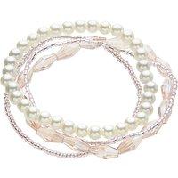 John Lewis Crystal Bead Faux Pearl Layered Stretch Bracelet, Blush