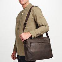 John Lewis Toronto Leather Messenger Bag, Brown