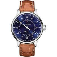 MeisterSinger AM1008 Mens Perigraph Day Automatic Leather Strap Watch, Cognac/Sunburst Blue