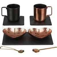 Just Slate Heart Copper Serving And Coffee Cup Gift Set