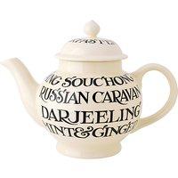 Emma Bridgewater Black Toast All Over 4 Mug Teapot With Box, Black/white, 1.55l