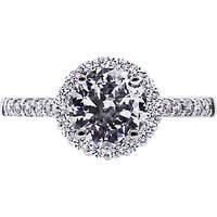 CARAT* London Sterling Silver Round Engagement Ring, Silver