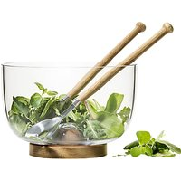 Sagaform Oak Base Glass Salad Bowl With Cutlery