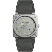 Bell & Ross BR0392-GR-ST/SCA Mens BR03-92 Horolum Automatic Date Leather Strap Watch, Grey