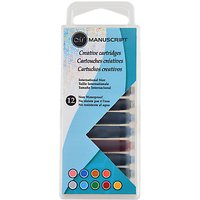 Manuscript Assorted Coloured Ink Cartridges, Pack of 12