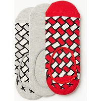 Happy Socks Patterned Shoe Liners, One Size, Pack of 3, Red/White/Grey
