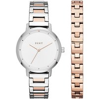 DKNY NY2643 Womens The Modernist Two Tone Bracelet Strap Watch and Bangle Set, Rose Gold/Silver