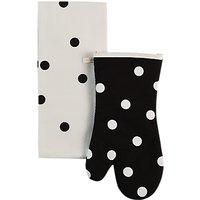 kate spade new york Polka Dot Mitt And Teatowel Set, Black/White