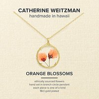 Catherine Weitzman 18ct Gold Plated Small Verbena Flower Pendant Necklace, Gold/Orange