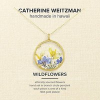 Catherine Weitzman 18ct Gold Plated Large Wildflowers Round Pendant Necklace, Gold/Multi