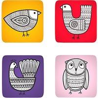 Jane Foster Scandi Linea Bird Coasters, Set of 4, Assorted