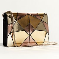 Karen Millen Metallic Patchwork Shoulder Bag, Multicolour