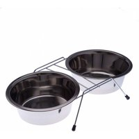 Dual Stainless Steel Dog Bowl on Stand - 2 x 1.65 litre
