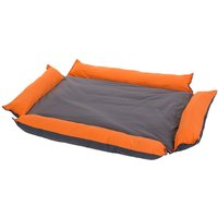Outdoor Dog Bed 2-in-1 Grey & Orange - 110 x 80 x 15 cm (L x W x H)
