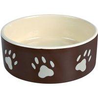 Trixie Brown Ceramic Bowl with Paw Prints - 0.3 litre