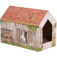 zoolove Cat Home with Scratch Pad - 50 x 26 x 36 cm (L x W x H)