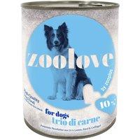 zoolove Trio di Carne Wet Dog Food - 6 x 800g