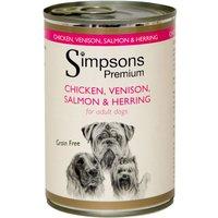 Simpsons Premium Adult Dog - Chicken, Venison, Salmon & Herring - Saver Pack: 12 x 400g