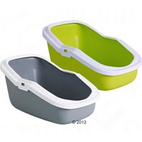 Savic Aseo Cat Litter Tray with High Edge - 56cm - Bundle: Green litter tray + tray bags