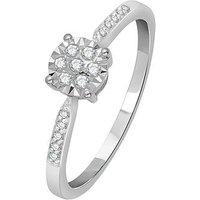 Love DIAMOND 9 Carat White Gold 15pt Illusion Set Solitaire Ring, Size T, Women
