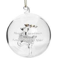 Personalised Reindeer Glass Christmas Tree Bauble