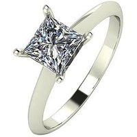 Moissanite 9ct Gold 1 Carat Square Brilliant Solitaire Ring, Yellow Gold, Size M, Women