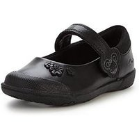 Clarks Younger Girls Nibblessam Strap School ShoesWidth Sizes Available, Black, Size 7.5 Younger