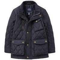 Joules Boys Stafford Quilted Coat, Navy, Size Age: 7 Years